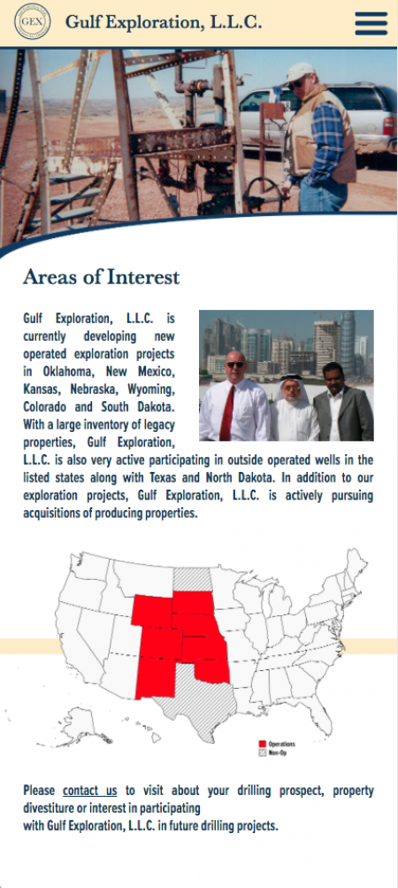 Gulf Exploration - Areas of Interest Page - Mobile View