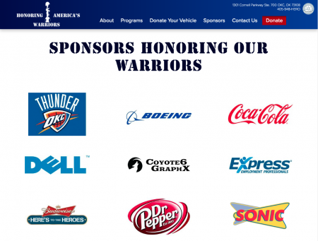 Honoring America's Warriors (2019 Design) - Sponsors Page